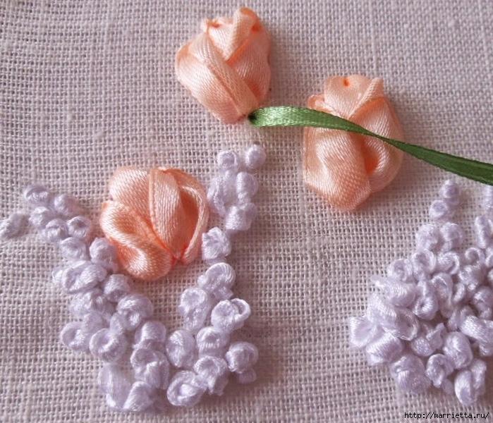 Вышивка лентами «Букет весенних цветов» (17) (700x600, 363Kb)