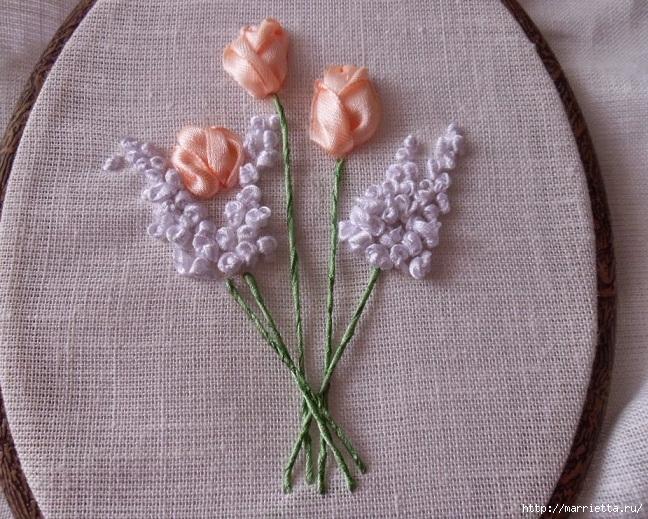 Вышивка лентами «Букет весенних цветов» (19) (648x519, 325Kb)