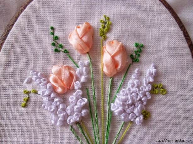 Вышивка лентами «Букет весенних цветов» (21) (615x461, 275Kb)