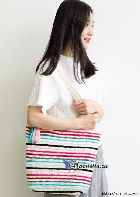 Летняя сумка-мешок крючком. Схемы вязания (6) (465x650, 160Kb)