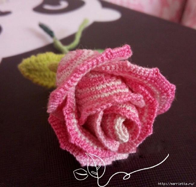 Розовая роза крючком (2) (650x621, 219Kb)