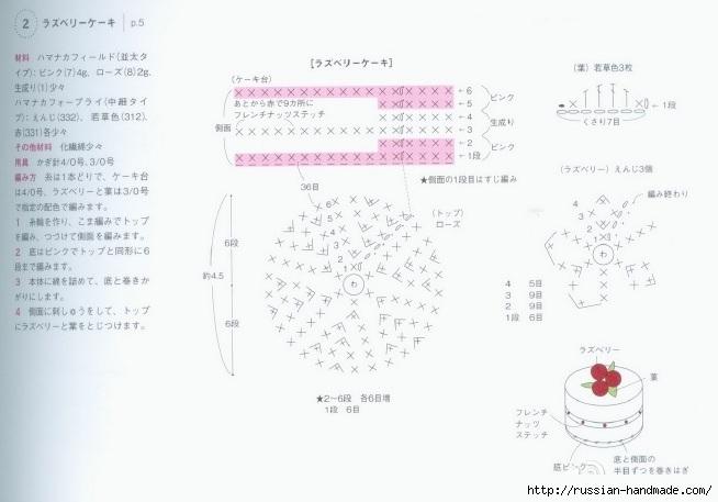 Вязаные крючком пирожные. Схемы вязания (4) (654x457, 114Kb)