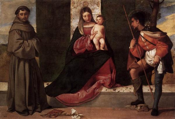 10 Джорджоне Святой Рох со святым Антонием и Девой Марией (600x411, 215Kb)