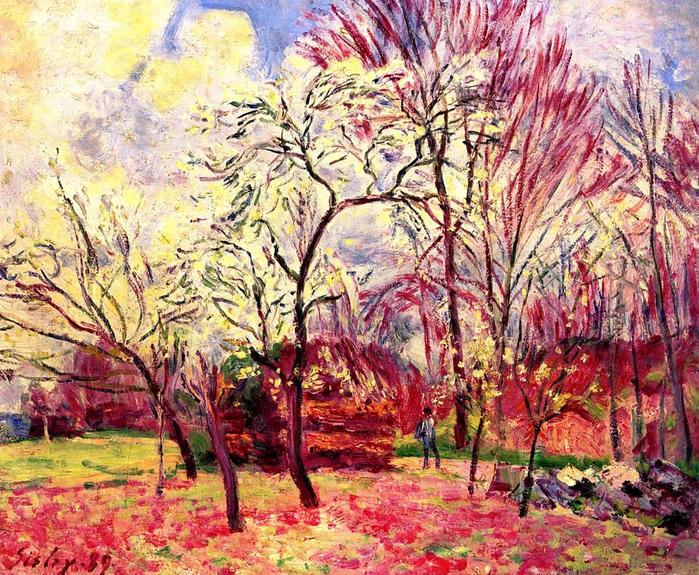 Альфред Сислей _Первый день весны 1889 (700x575, 682Kb)