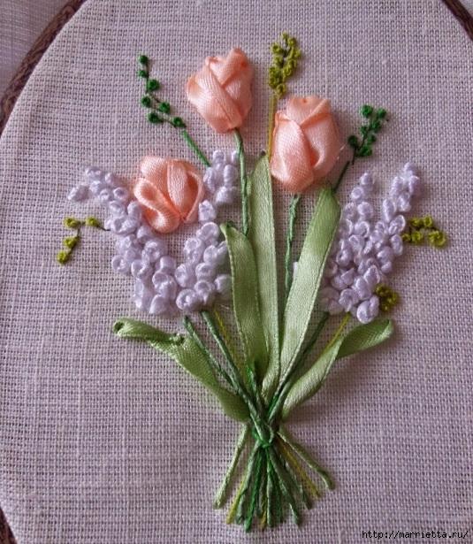 Вышивка лентами «Букет весенних цветов» (23) (535x615, 311Kb)