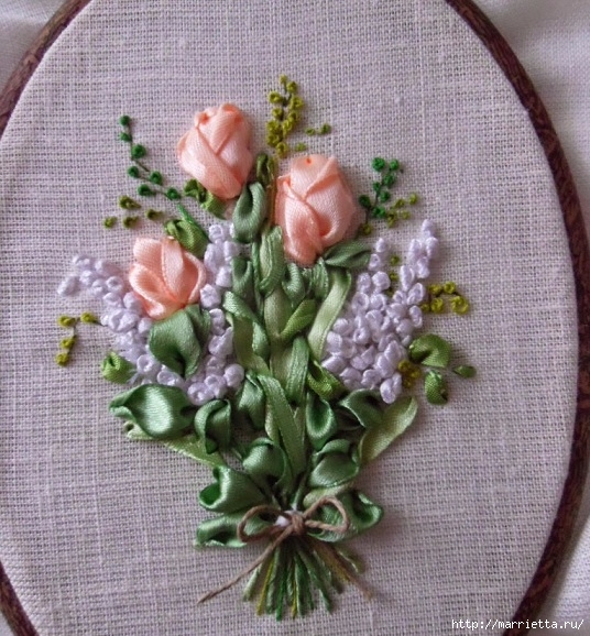 Вышивка лентами «Букет весенних цветов» (25) (536x578, 279Kb)