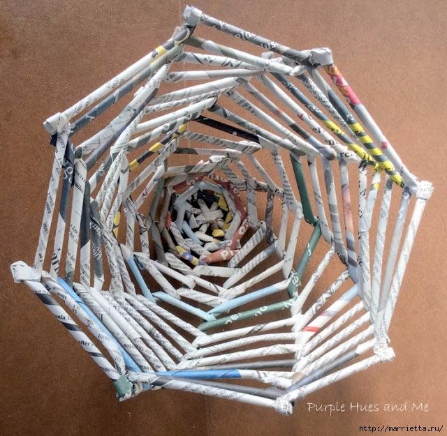 Плетение из газет корзинки-паутинки. Фото мастер-класс (17) (640x625, 355Kb)