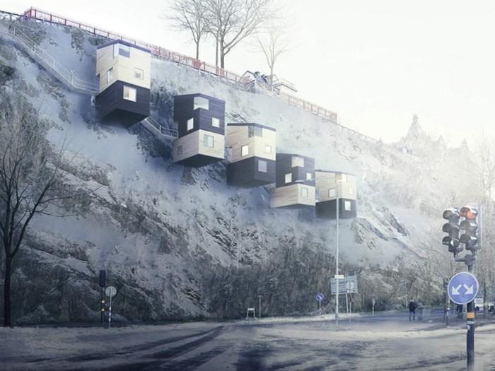 Жилые дома на отвесных скалах! Фотографии