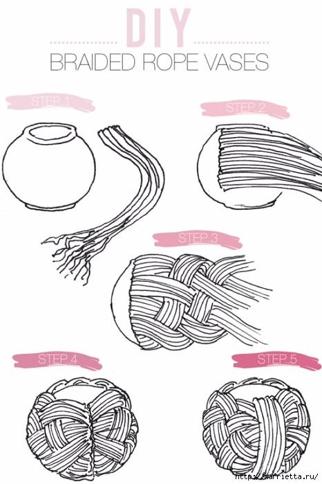 Стильные вазы из бельевой веревки (3) (466x700, 177Kb)