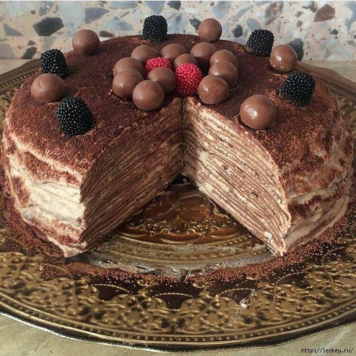 Шоколадный блинный торт с творожным кремом пошаговый рецепт с фото