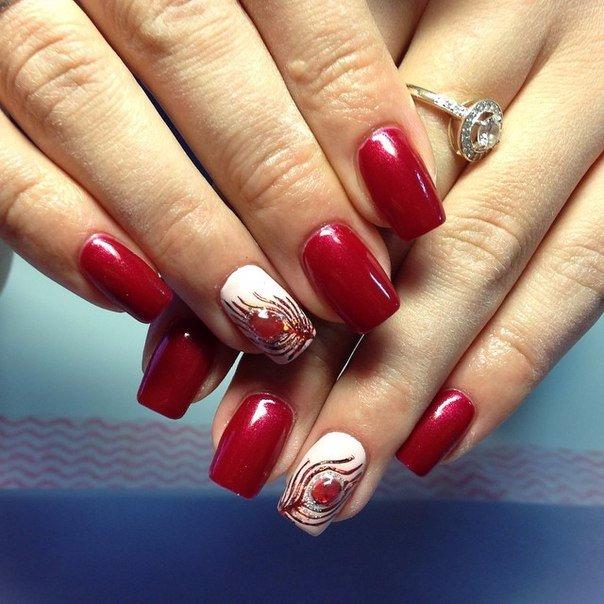 Дизайн ногтей гель лак красный цвет