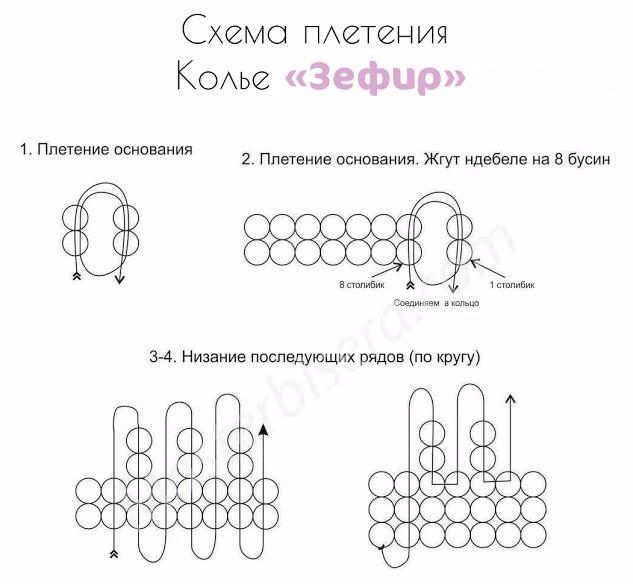 Схема плетения колье Зефир на Блог (633x584, 162Kb)