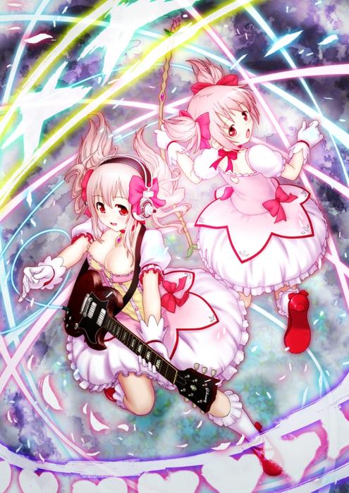 dress pink hair guitars mahou shoujo madoka magica kaname madoka anime nitroplus super sonico anime_www.wallpaperhi.com_32 (495x700, 485Kb)