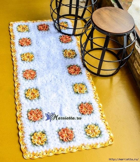 Пушистый коврик из меланжевой и пряжи «травка» (1) (566x655, 326Kb)