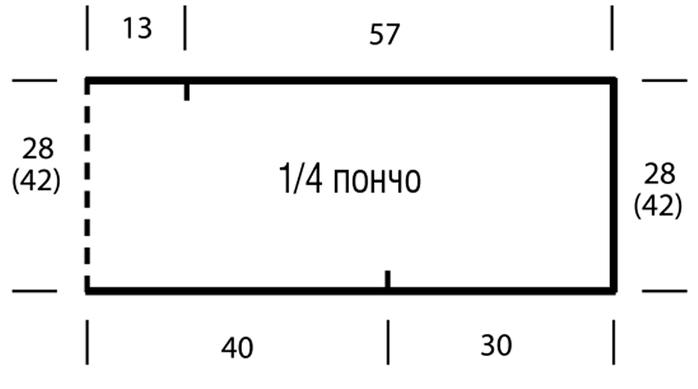 Вязание пончо из двух прямоугольников 61