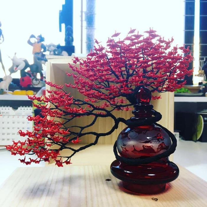 деревья с листиками журавли оригами 1 (700x700, 482Kb)