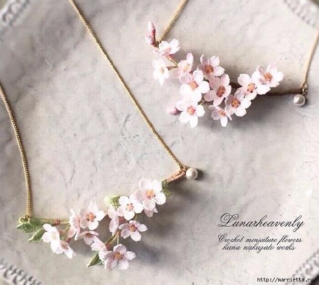 Вязаные украшения handmade. Веточка цветущего абрикоса (2) (649x579, 229Kb)