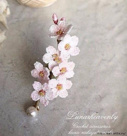 Вязаные украшения handmade. Веточка цветущего абрикоса (6) (529x565, 185Kb)