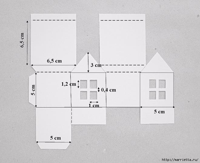 Домики - подвески из бумаги. Шаблон (1) (660x538, 112Kb)