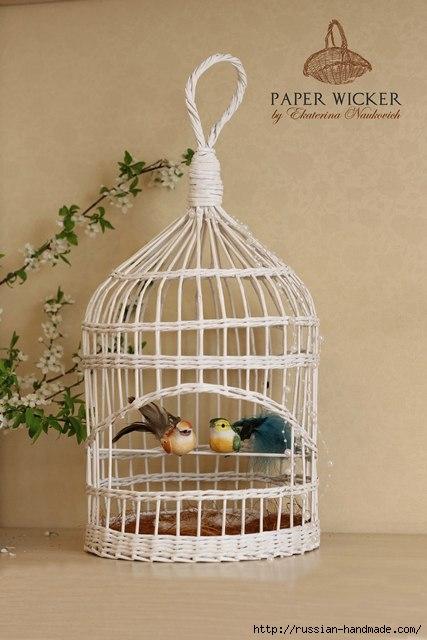 Плетение из газет. Клетка для птички (17) (427x640, 140Kb)