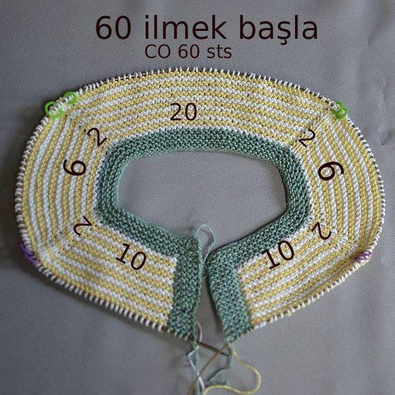 俄网的棒针基础教程 29:由上往下织衣的几种起针的针数分布(仅供参考) - maomao - 我随心动