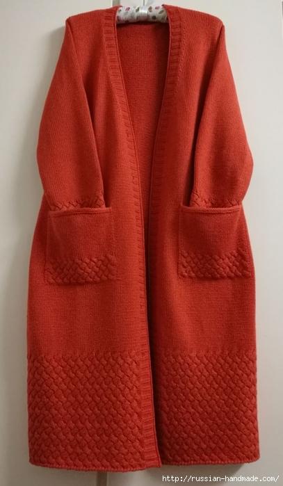 Очень красивое длинное пальто спицами (7) (407x700, 195Kb)