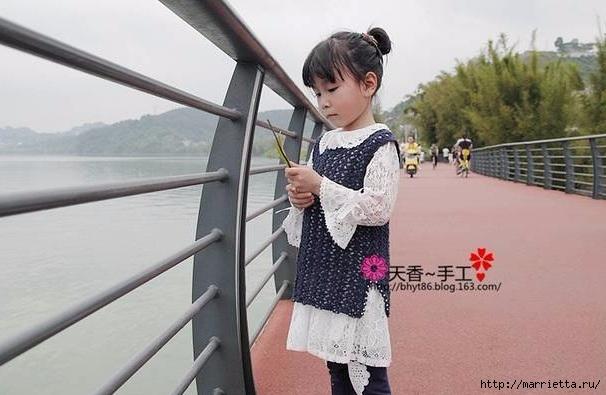 Ажурная безрукавка крючком для девочки (1) (606x395, 138Kb)