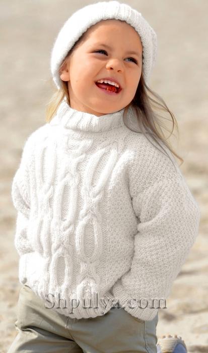 Вязаный свитер для девочки и шапка спицами, свитер для девочки спицами описание схема, вязаный свитер для девочки спицами, кофта для девочки, вязание для детей с описанием, вяжем детям спицами, пуловер для девочки 5-8 лет, сайт о вязании, купить пряжу, пряжа для вязания, интернет магазин пряжи, www.shpulya.com/5557795_1786_1 (413x700, 178Kb)