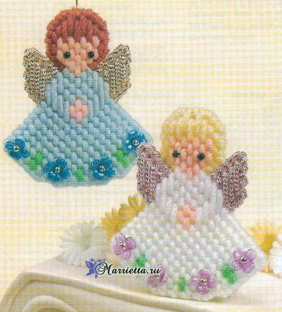 Ангелы из пластиковой канвы с вышивкой (556x614, 408Kb)