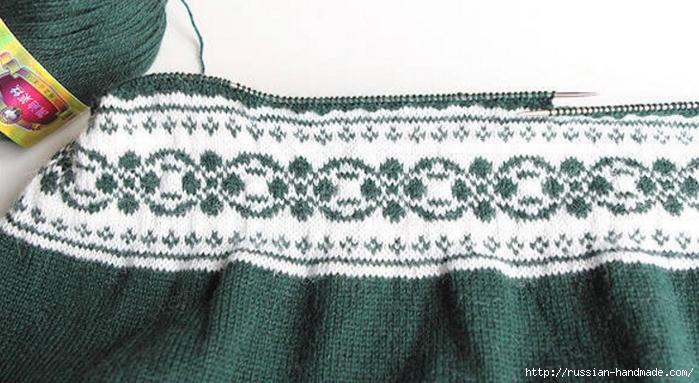 Платье спицами с жаккардовым узором. Схема (2) (700x383, 229Kb)