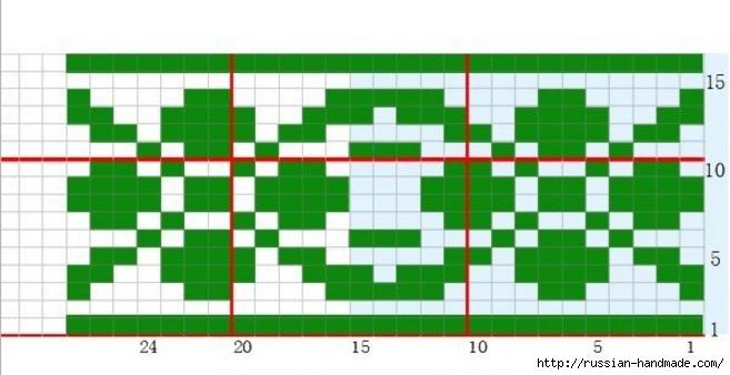 Платье спицами с жаккардовым узором. Схема (4) (657x338, 118Kb)