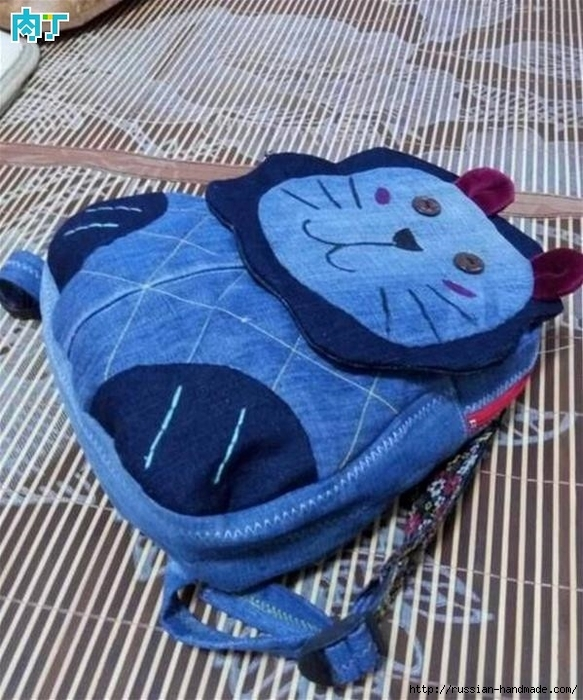 Шитье детского рюкзака из старых джинсов (6) (583x700, 320Kb)