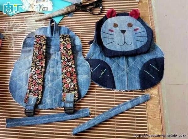 Шитье детского рюкзака из старых джинсов (12) (599x443, 171Kb)