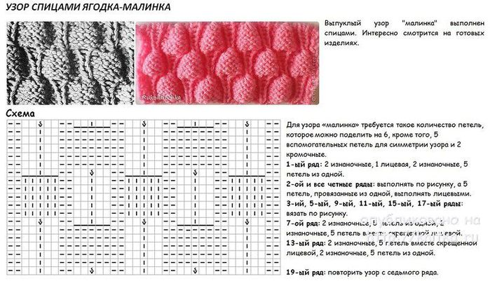 Вязание на спицах-узор малинка 16