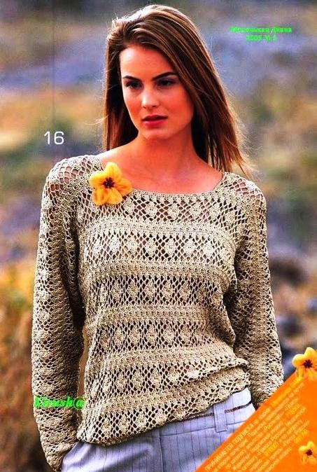 Нарядный пуловер крючком — свободно и непринужденно
