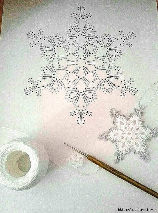 Снежинка крючком со схемой