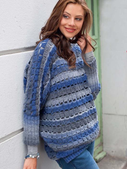 Пуловер с узором из кубиков