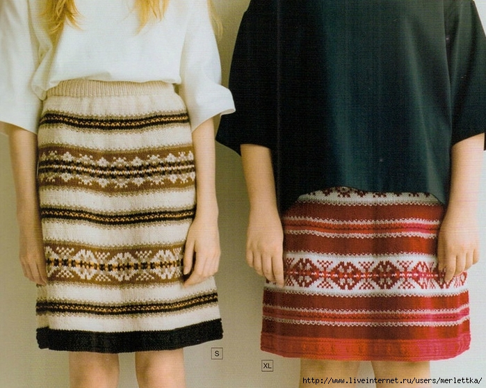 Жаккардовые юбки спицами