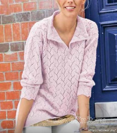 Ажурный нежный пуловер с воротничком спицами