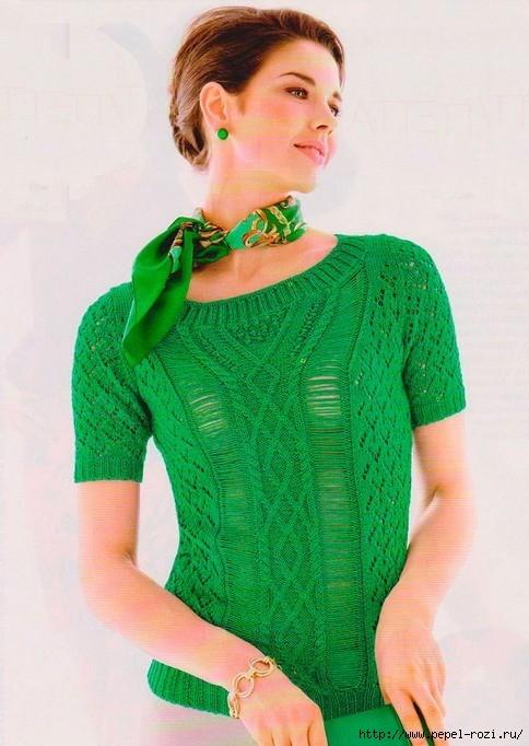 Стильный зеленый топ с красивыми узорами на лето
