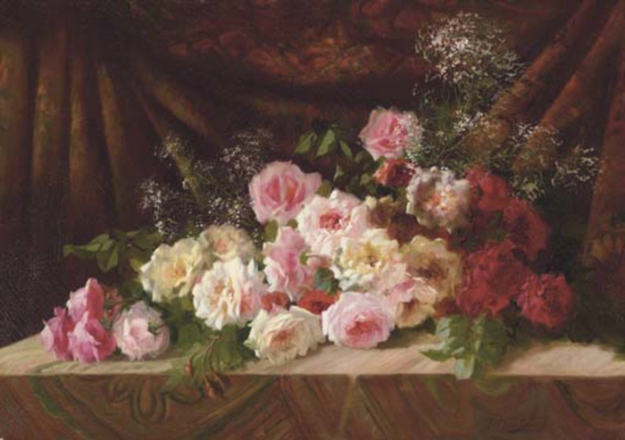 Roses-And-Babys-Breath-On-A-Cloth-Draped-Ledge (700x493, 273Kb)