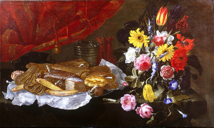 800px-Recco,_Giuseppe_-_A_Still_Life_of_Roses,_Carnations,_Tulips_and_other_Flowers_in_a_glass_Vase,_with_Pastries_and_Sweetmeats_on_a_pewter_Platter_and_earthenware_Pots_-_17th_c (700x420, 450Kb)