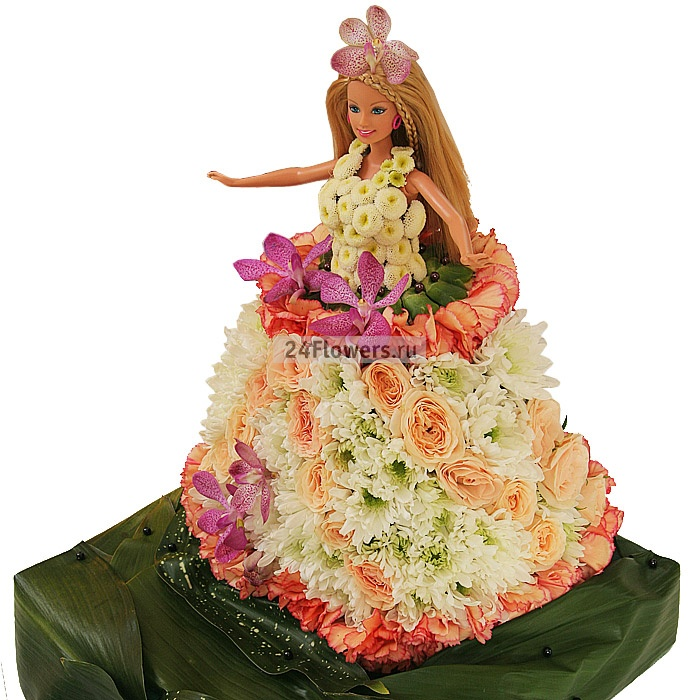 Платье кукле из живых цветов