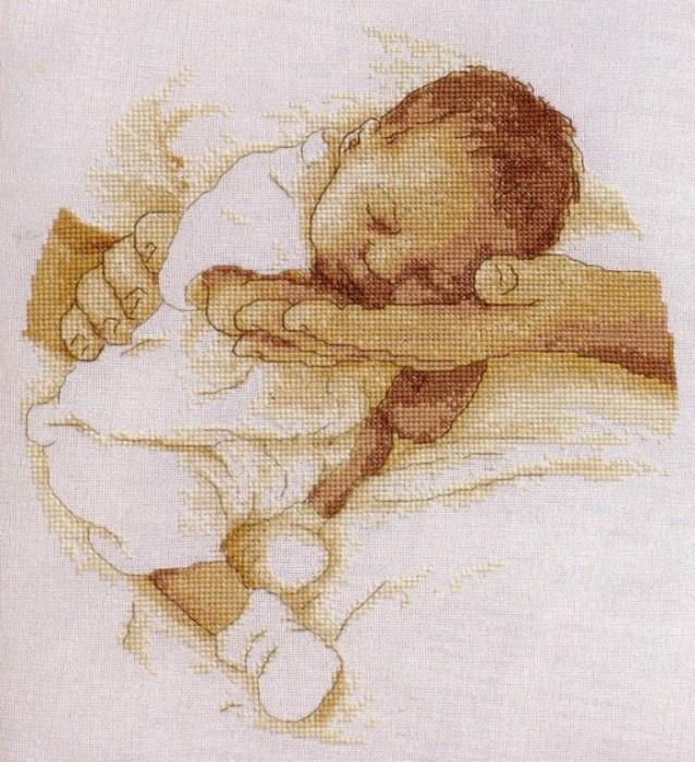 Младенец и аист схема вышивки крестом бесплатно