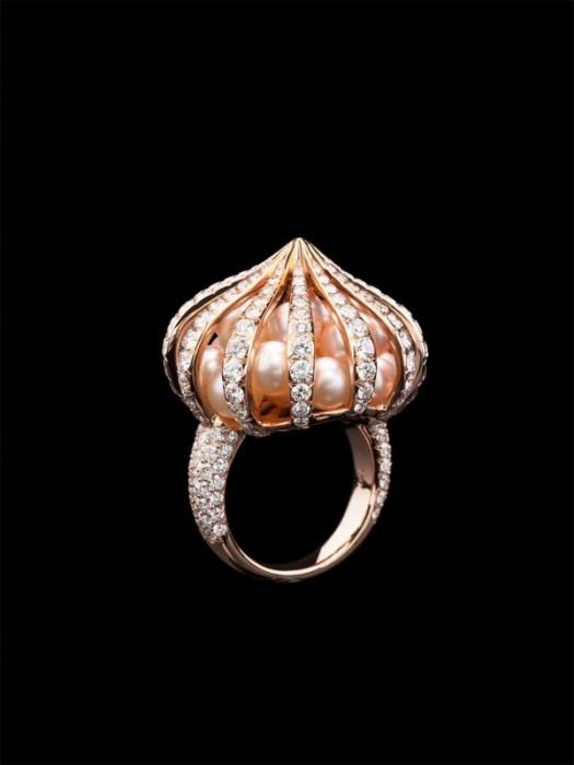 """Кольцо """"Перезвони"""": роовое золото, бриллианты, жемчуг"""