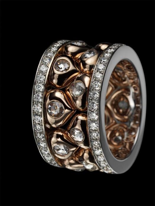 """Кольцо """"Истинная любовь"""": белое и желтое золото, бриллианты"""