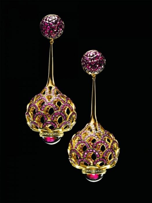 """Серьги """"Volute"""": Розовое золото, рубины, родолиты, бриллианты"""
