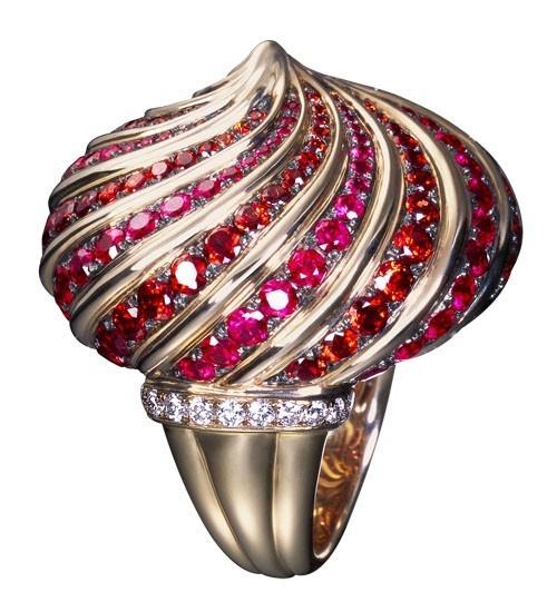 """ольцо """"Екатерина"""": Розовое золото, бриллианты, оранжевые сапфиры, рубины"""