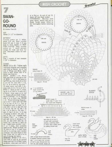 Схемы вязания крючком салфеток лебедей крючком