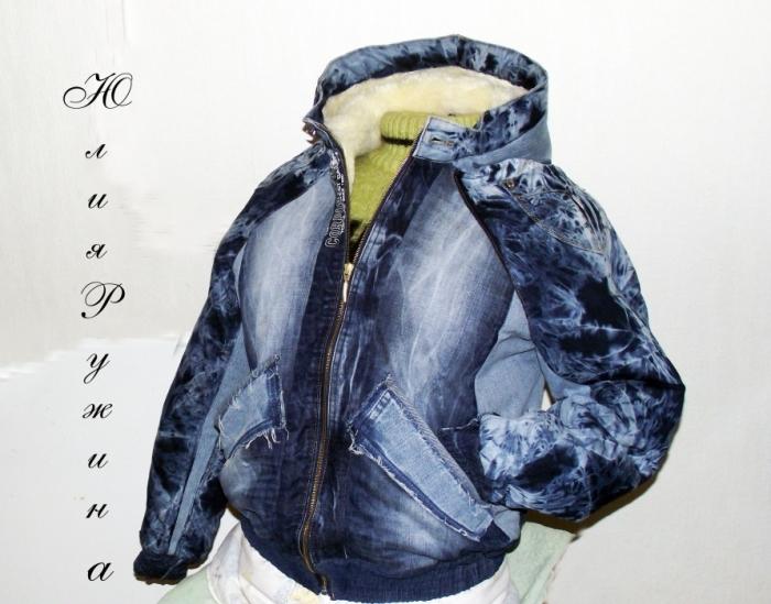 Джинсовая куртка комбинированная своими руками